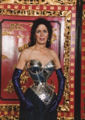 Cathie Jung wearing her sterling silver corset
