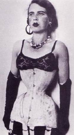 "Ethel Granger herself in white 15"" corset in 1936."